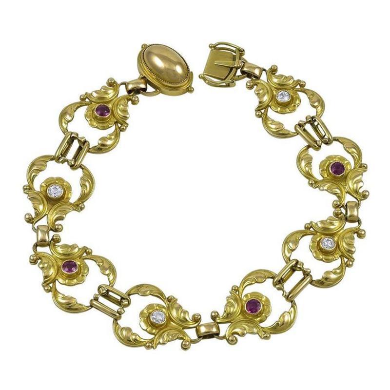 Georg Jensen Georg Jensen 18kt Bracelet No 172 with Diamonds Rubies