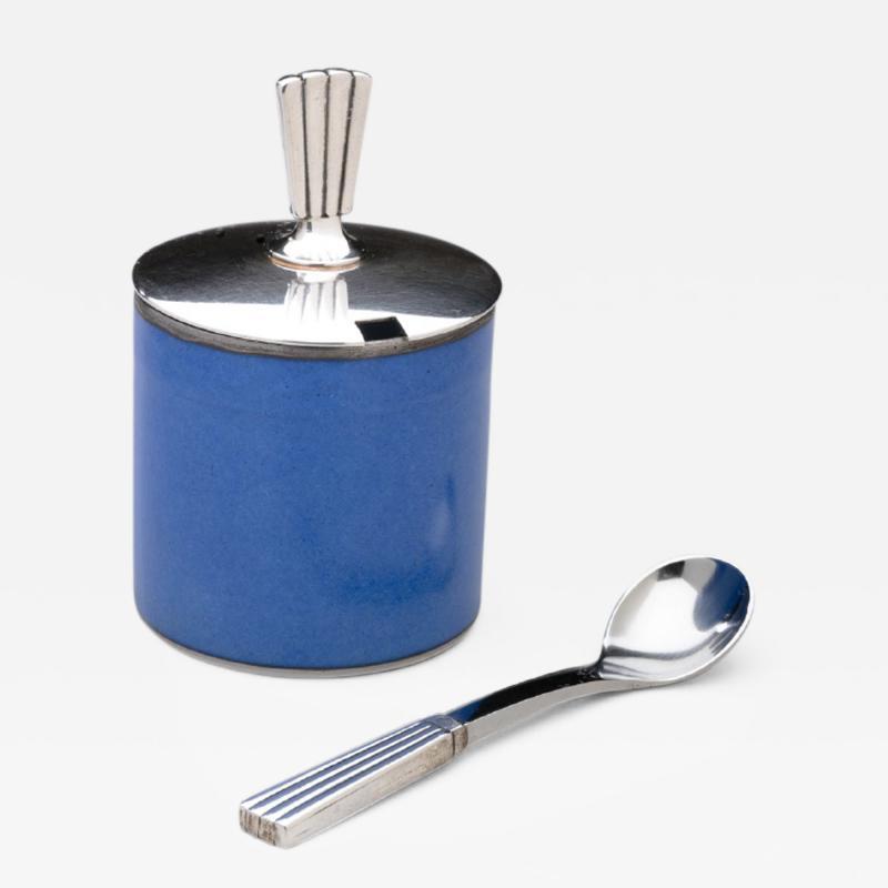 Georg Jensen Georg Jensen Bernadotte Mustard Pot Spoon with Royal Copenhagen Blue Pot