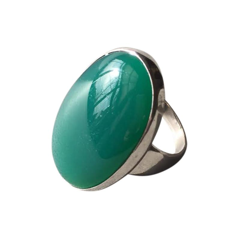 Georg Jensen Georg Jensen Modernist Sterling Silver Ring No 90B with Jadeite