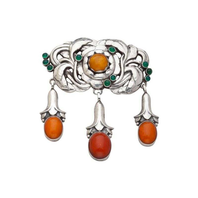Georg Jensen Georg Jensen Silver Brooch No 74 with Green Agate and Amber