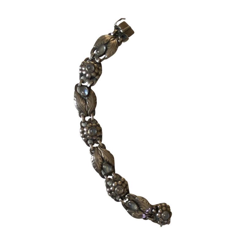 Georg Jensen Georg Jensen Sterling Silver Bracelet with Moonstone Design No 3
