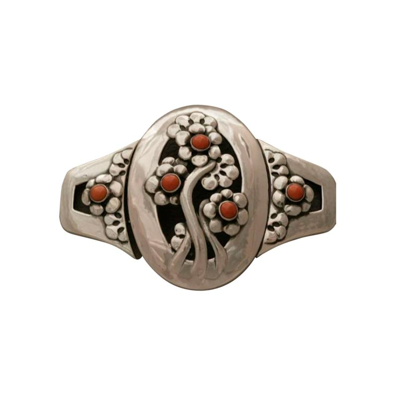 Georg Jensen Georg Jensen Sterling Silver Museum Quality Antique Belt Buckle with Coral