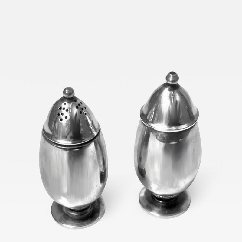 Georg Jensen Pair Georg Jensen Silver Salt and Pepper Shakers Casters 629B