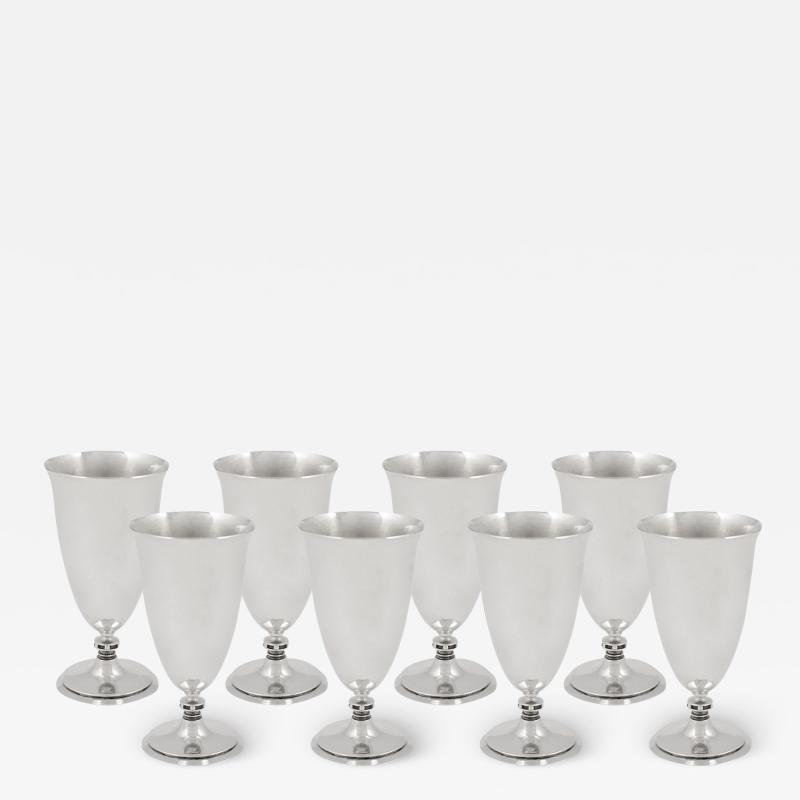 Georg Jensen Set of Eight Georg Jensen Stemmed Goblets Cups 520
