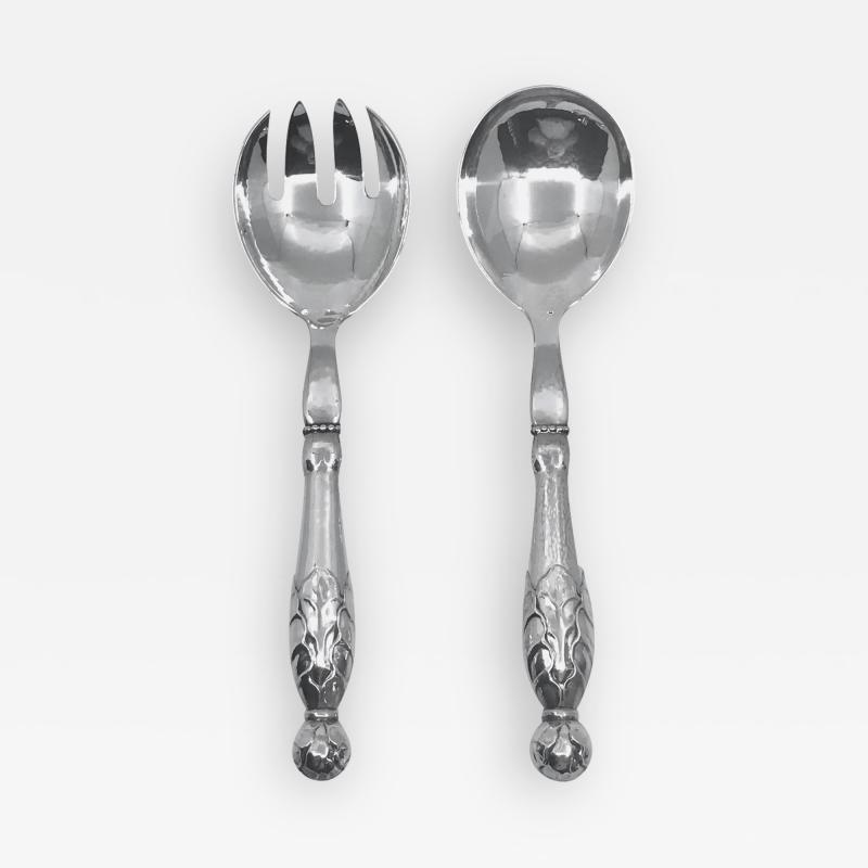 Georg Jensen Vintage Georg Jensen Sterling Silver Ornamental Serving Set 159