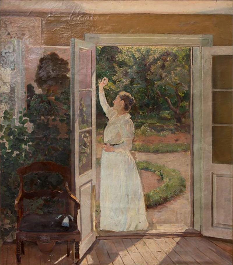 Georg Seligmann Antique Oil Painting of Smiling Woman in a Garden by Georg Seligmann