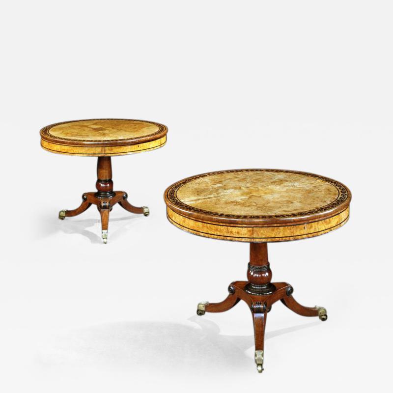 George Bullock Rare Pair of English Regency Pollard Oak Bullock Circular Drum Library Tables