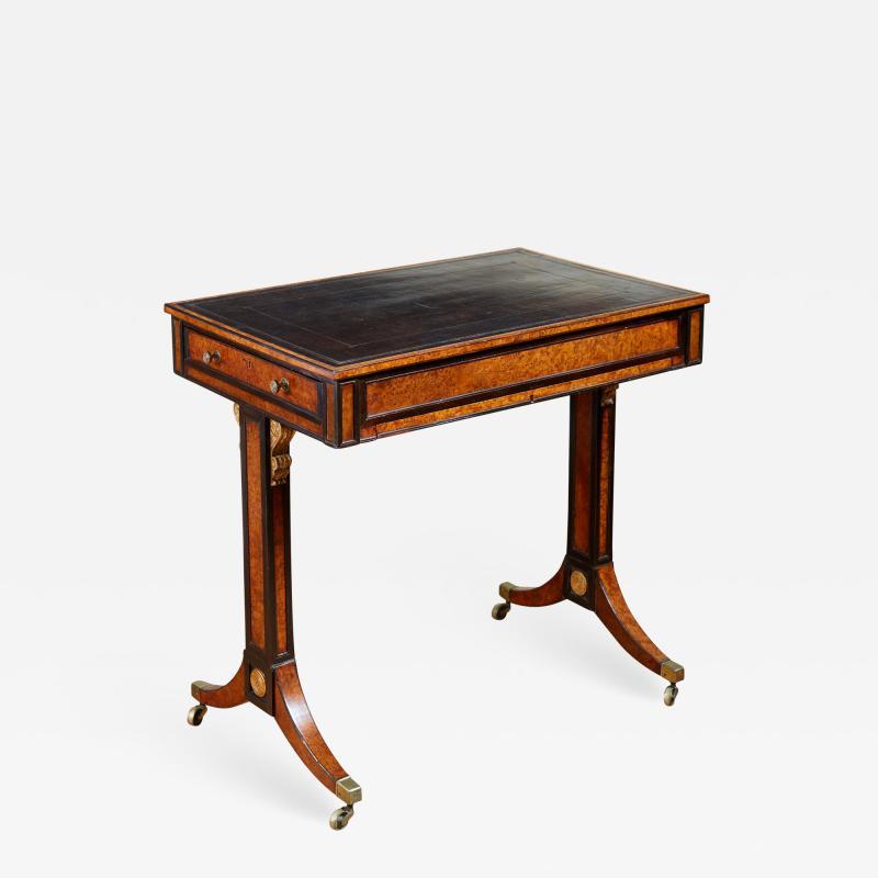 George Bullock Regency Burl Yew and Ebony Writing Table