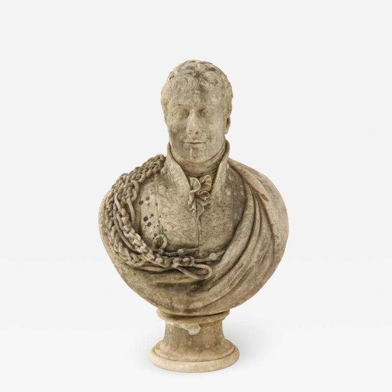 George Garrard Georgian Marble Bust of Baronet Montagu Roger Burgoyne
