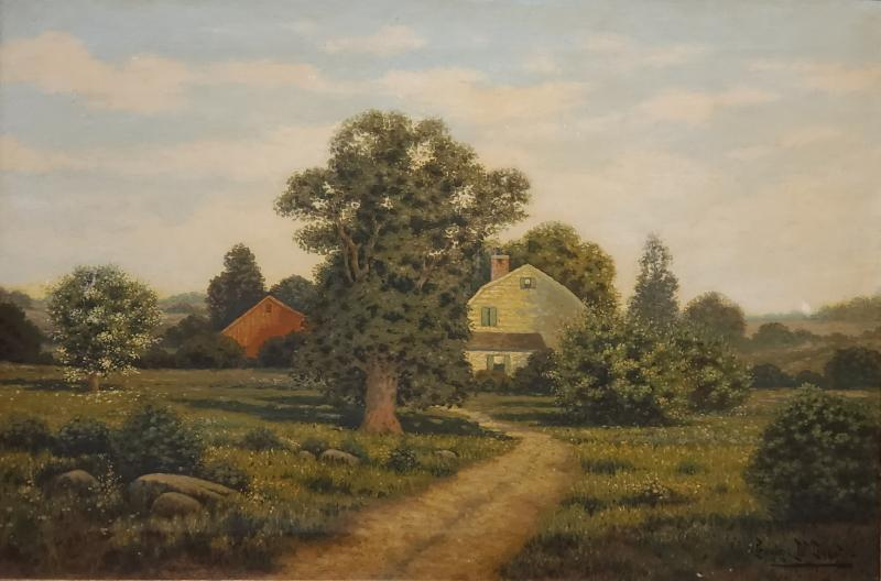 George H Drew American Farm Landscape Oil Painting signed by George Drew