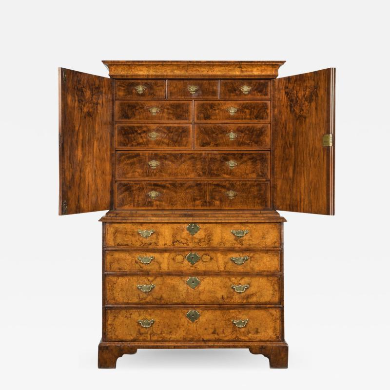 George I burr walnut cabinet on chest