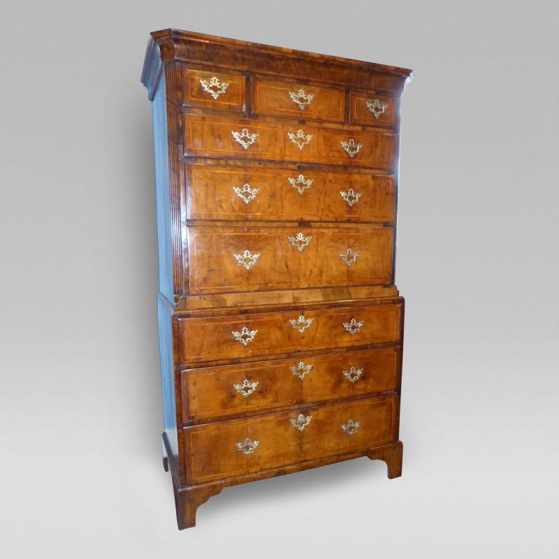 George II Period Inlaid Walnut Chest on Chest