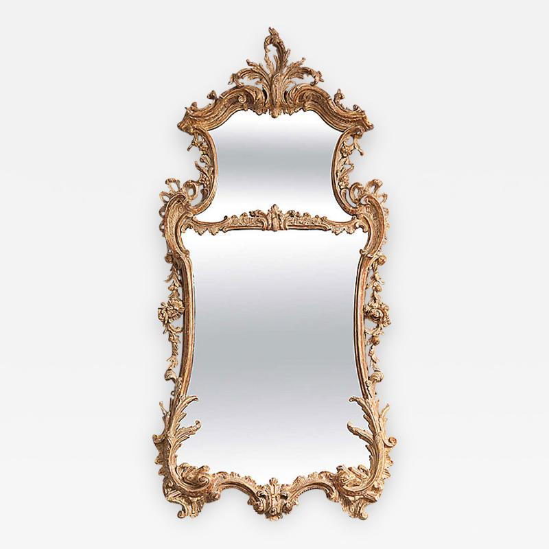 George II Rococo Giltwood Two Plate Mirror