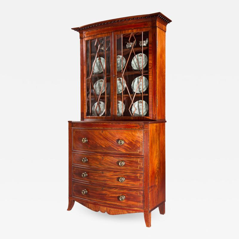George III Mahogany Bow Front Secretary Bookcase in the style of Seddon Sons
