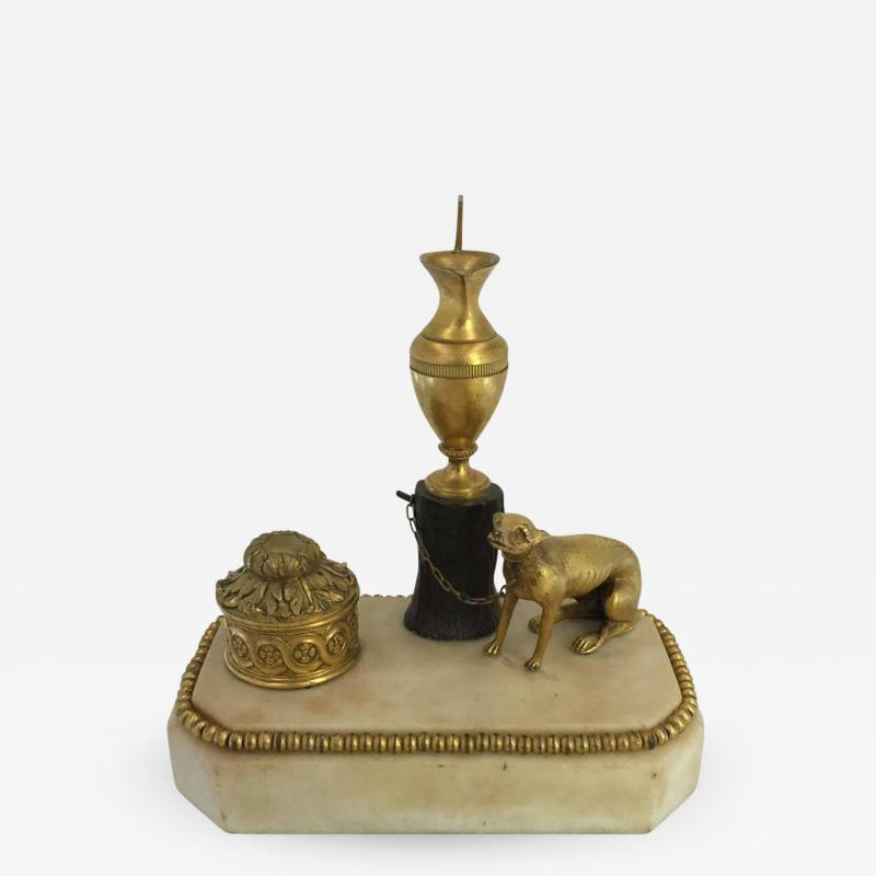 George III Ormolu Patinated Bronze and White Marble Inkwell circa 1800