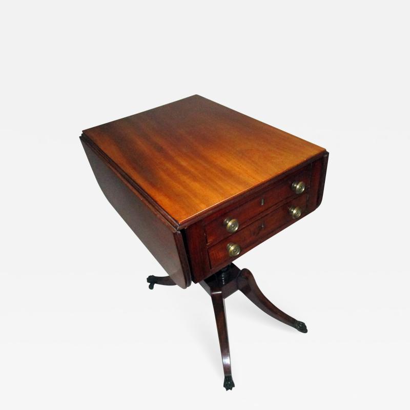 George III Period English Mahogany Drop Leaf Side Work Table