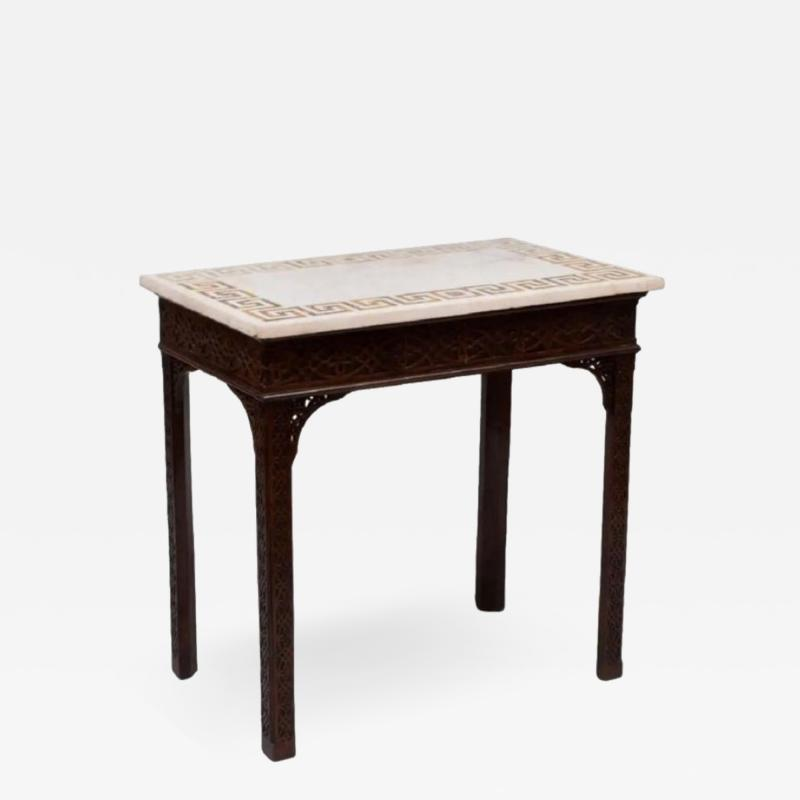 George III carved mahogany fretwork table