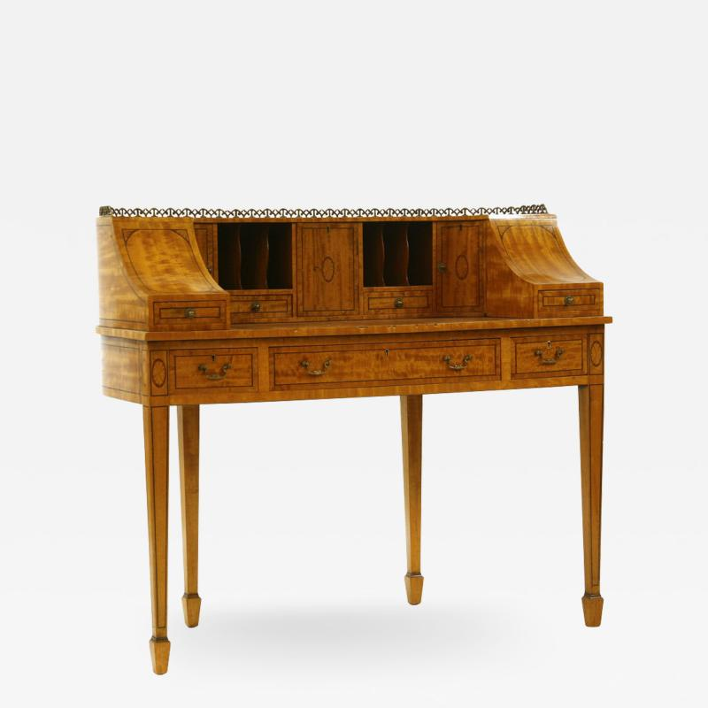 George III style satinwood and marquetry Carlton House desk