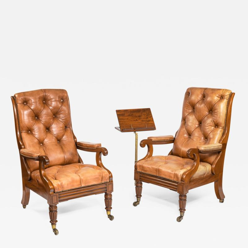 George Minter A pair of William IV adjustable mahogany library armchairs by George Minter