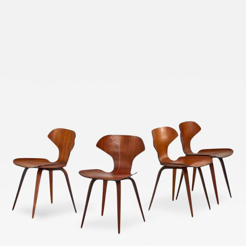 George Mulhauser Set of Four George Mulhauser Walnut Plywood Chairs