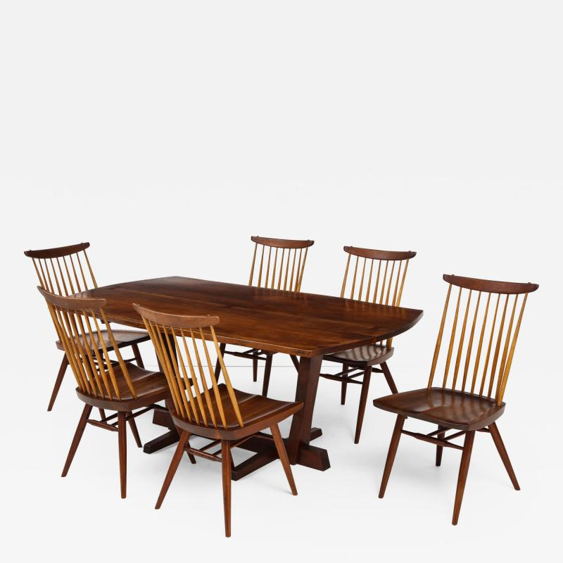 George Nakashima Conoid Dining Table Accompanied by Set of Six New Chairs