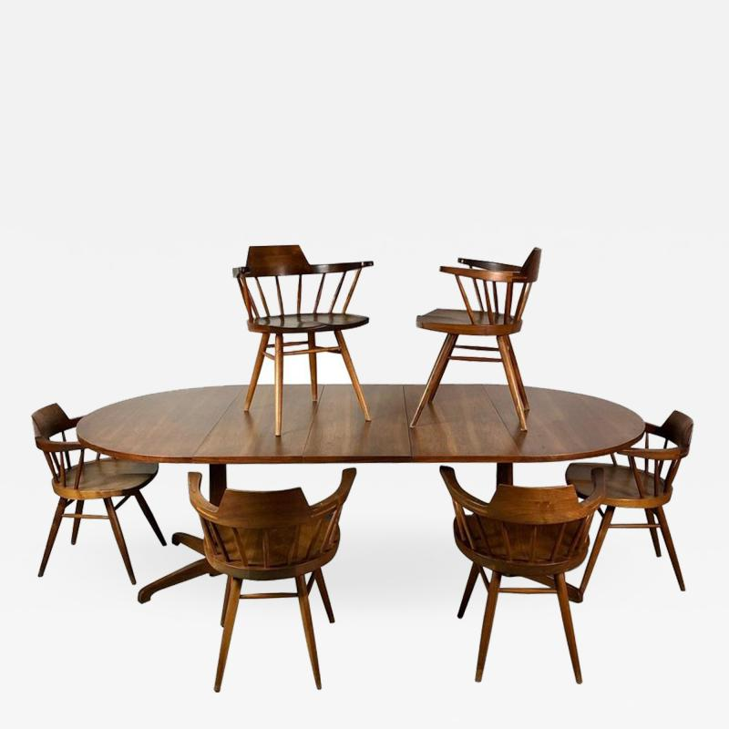 George Nakashima Early One of a Kind George Nakashima Dining Set with Six Captain Chairs USA 1966