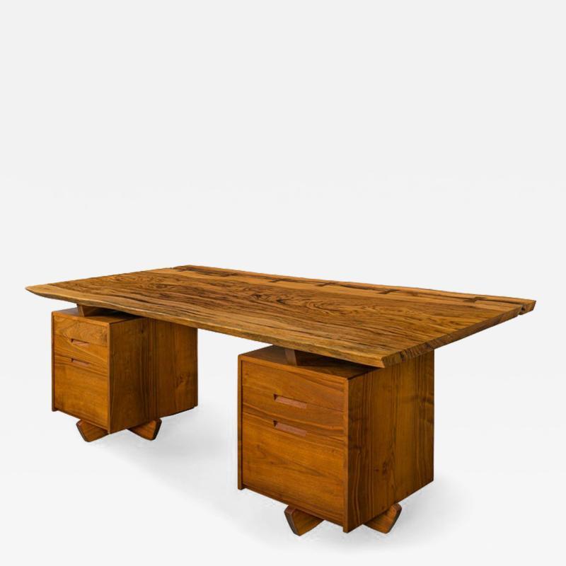 George Nakashima George Nakashima African Zebrawood Walnut Double Pedestal Desk
