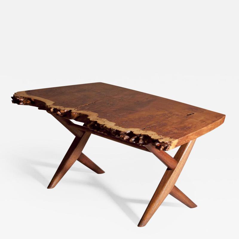 George Nakashima George Nakashima Burl English Oak Table with Crossed legged Base