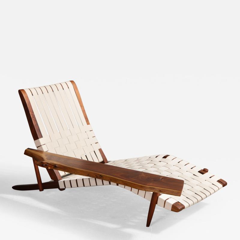 George Nakashima Long Chair with Single Free Form Arm by George Nakashima