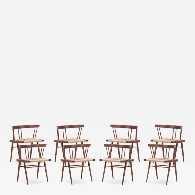 George Nakashima Set of Eight Grass Seated Dining Chairs by George Nakashima