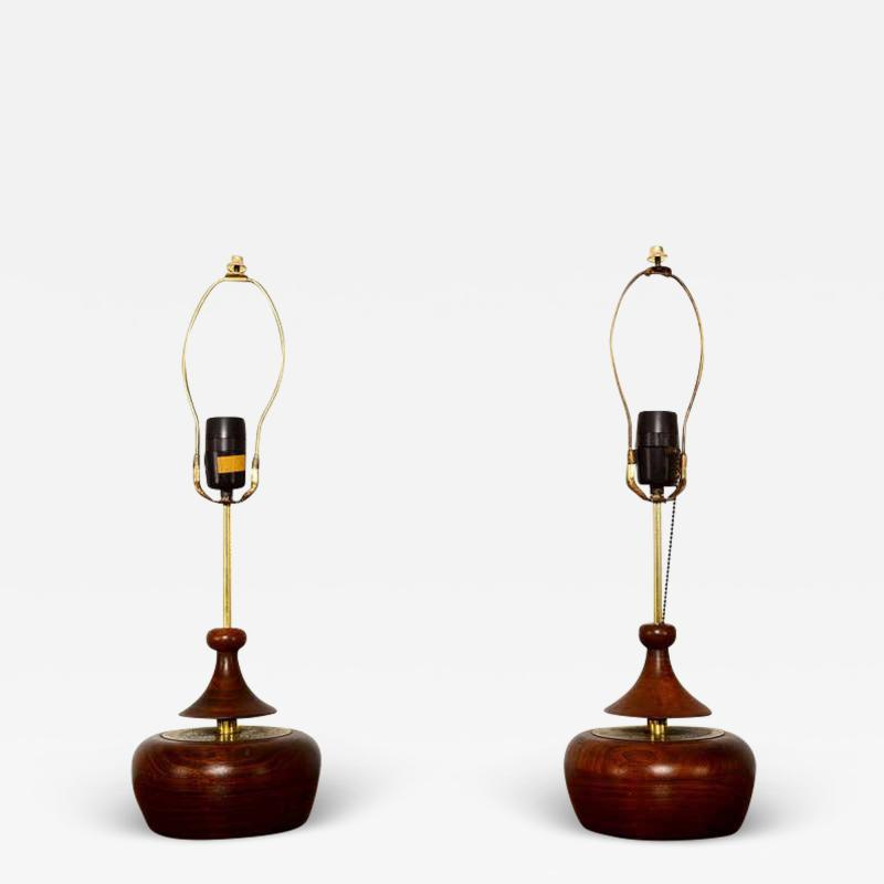 George Nakashima Solid Walnut Pair of Table Lamps Nakashima Simple Style Mid Century 1950s USA