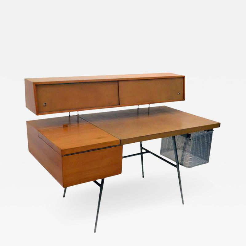 George Nelson George Nelson Wood and Leather Office Desk for Herman Miller