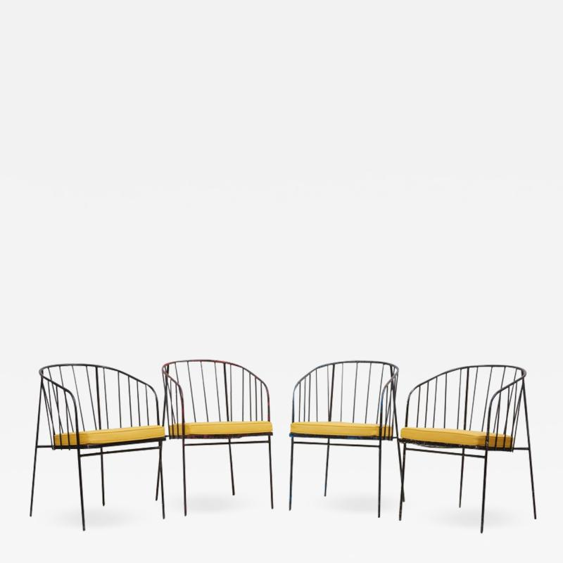 George Nelson Set of Four Iron Rod Outdoor Chairs by George Nelson for Arbuck 1950s