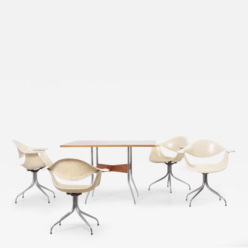 George Nelson Set of Swaged Leg Dining Table and 4 Chairs by George Nelson for Herman Miller