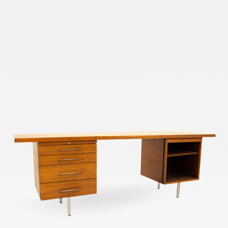 George Nelson for Herman Miller Style Mid Century Walnut Chrome Executive Desk