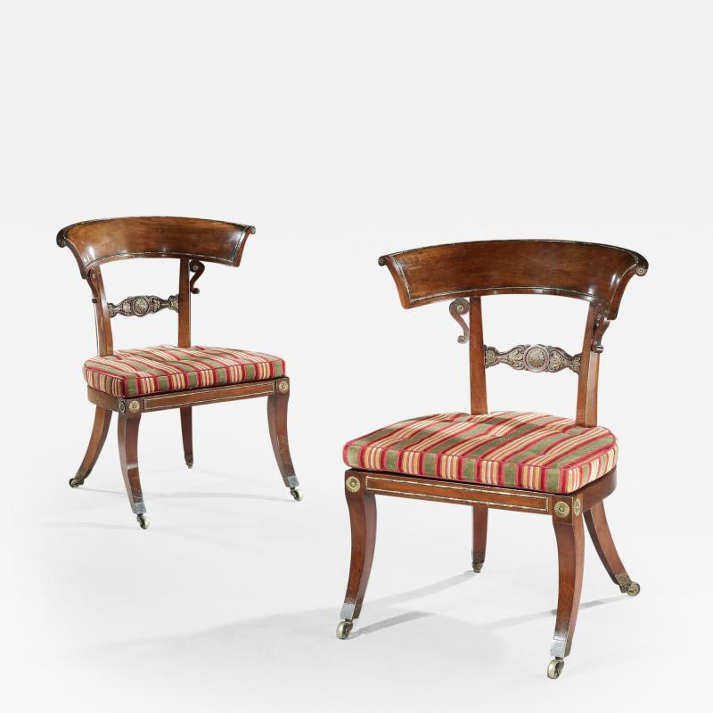 George Oakley Rare Pair of Regency Rosewood Klismos Library Chairs