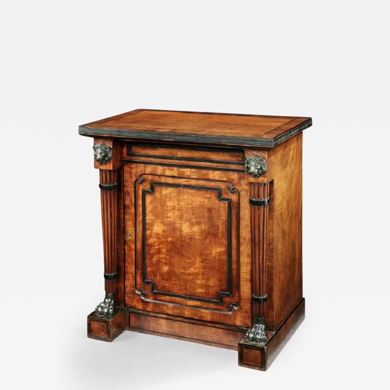 George Oakley Regency Period Mahogany and Ebony Inlaid Cabinet