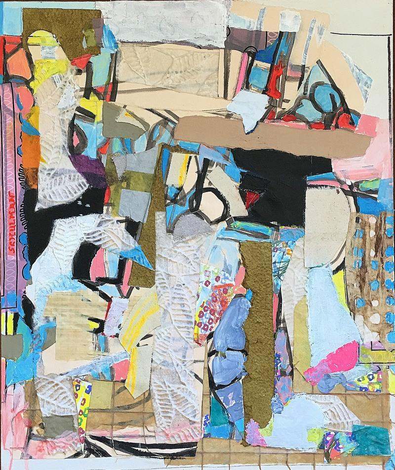 George Schulman Untitled Collage Painting