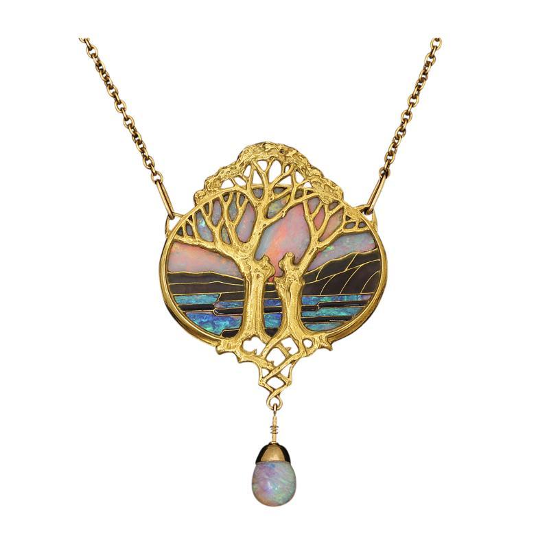 Georges Fouquet Art Nouveau Gold and Opal Pendant by Georges Fouquet
