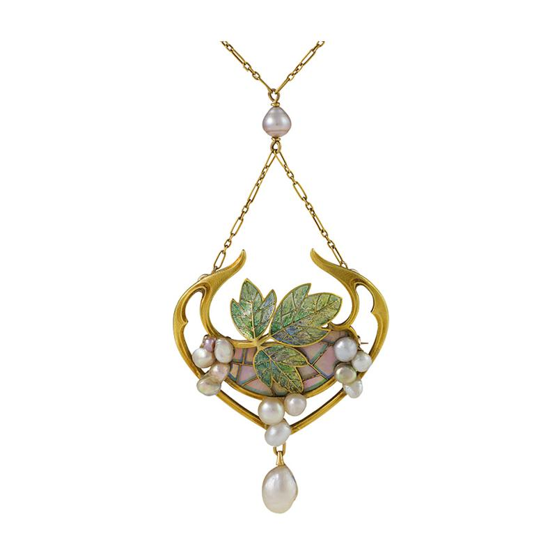 Georges Fouquet Georges Fouquet French Art Nouveau Opal Pearl Gold and Plique Jour Enamel