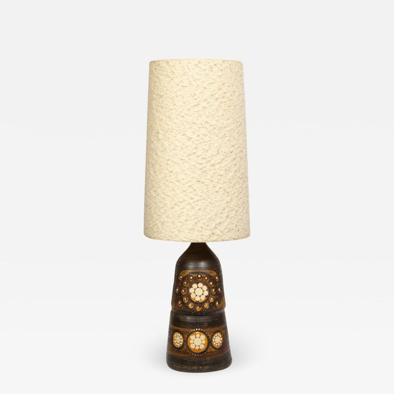 Georges Pelletier Mid Century Modern Handpainted Cut Out Ceramic Table Lamp by Georges Pelletier