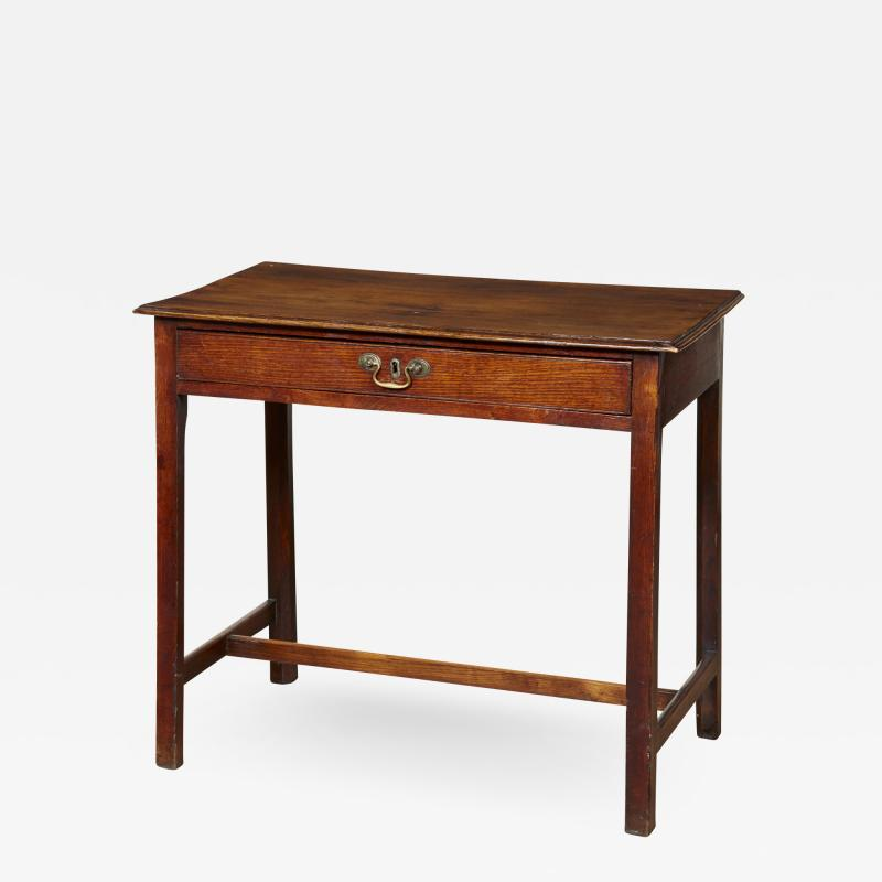 Georgian Oak Side Table with H Stretcher
