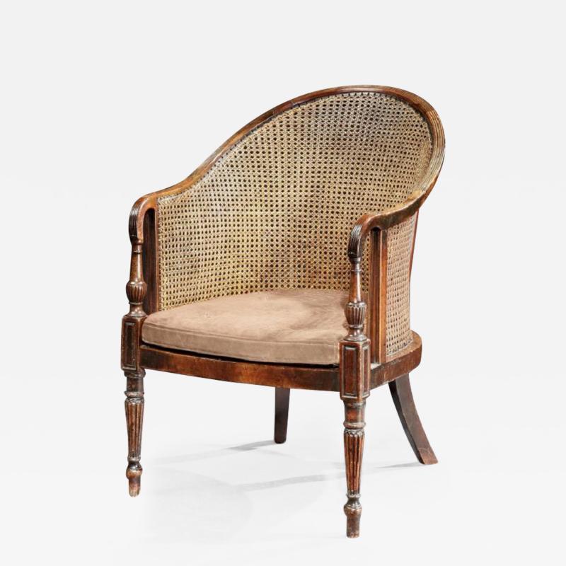 Georgian Period Mahogany Library Tub Bergere Desk Chair