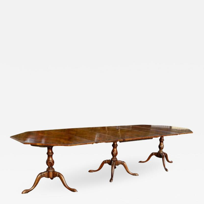 Georgian Style Walnut Three Pedestal Dining Table