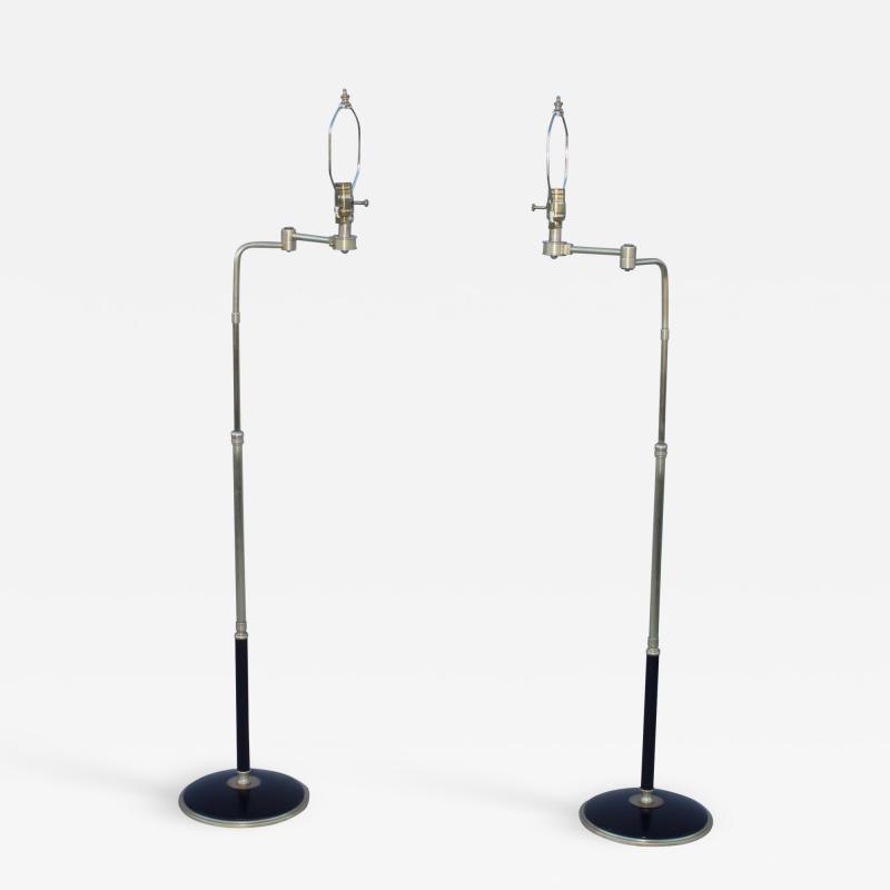 Gerald Thurston 1950s Adjustable Height Brass Floor Lamps Attributed To Gerald Thurston