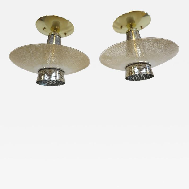 Gerald Thurston Gerald Thurston Brass Glass pendant Lights