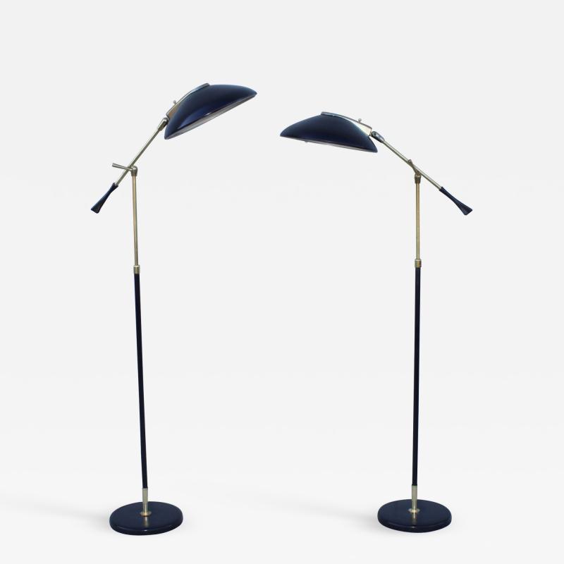 Gerald Thurston Gerald Thurston For Lightolier Brass Floor Lamps