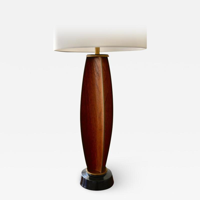 Gerald Thurston Gerald Thurston Parabolic Walnut and Brass Lightolier Table Lamp circa 1956