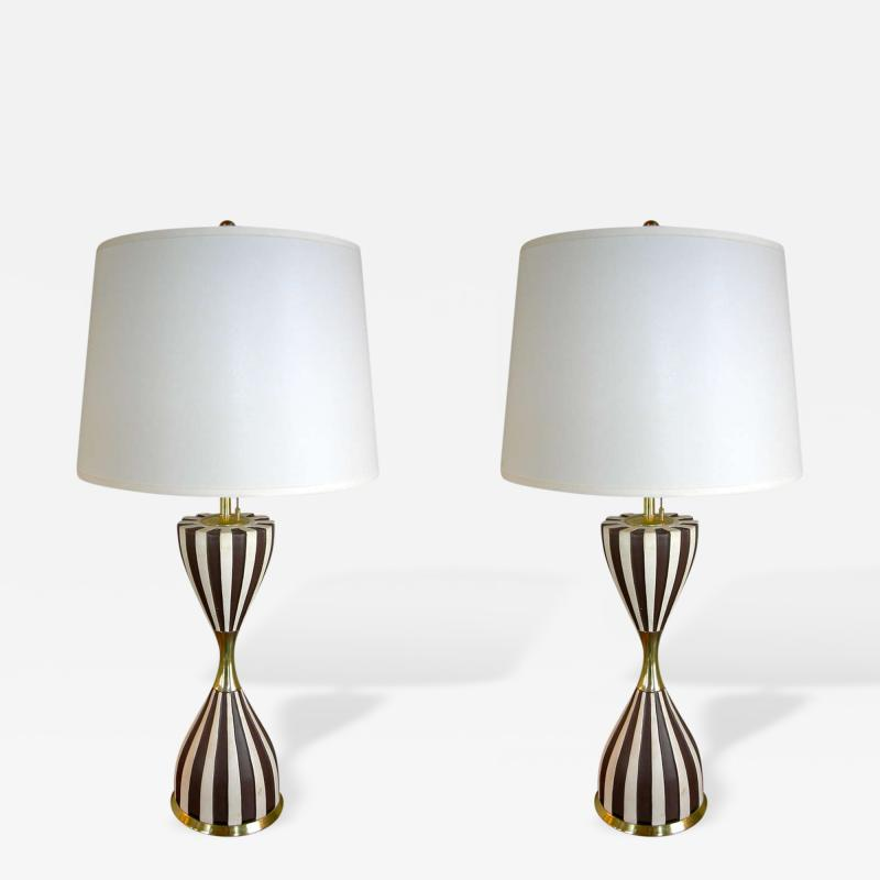 Gerald Thurston Pair of Harlequin Table Lamps by Gerald Thurston
