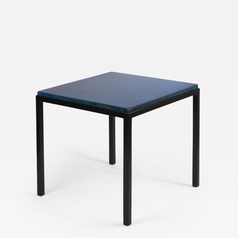 Gerard Simo n BLUE GLAZED CERAMIC SIDE TABLE 41